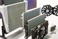 Free Radiators And Fans Cooling Systems Of Truck In Shop Royalty Free Stock Images - 125460059