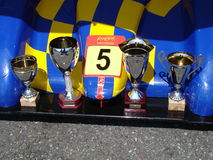 Radical cups. Cups and trophies over the splitter of the winning car at the 2008 Monza event Royalty Free Stock Image