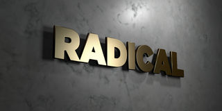 Radical - Gold sign mounted on glossy marble wall  - 3D rendered royalty free stock illustration Royalty Free Stock Photography