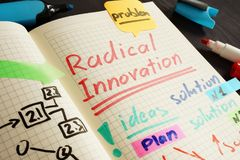 Radical innovation written in the note and pen. Radical innovation handwritten in the note and pen stock photos