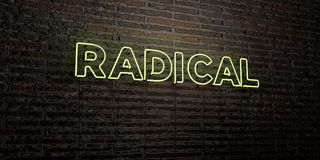 RADICAL -Realistic Neon Sign on Brick Wall background - 3D rendered royalty free stock image. Can be used for online banner ads and direct mailers stock illustration