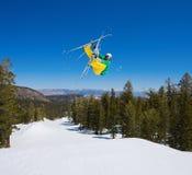 Radical Skier Gets Big Air. Off Jump Royalty Free Stock Photo