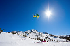 Radical Skier Gets Big Air. Off Jump Royalty Free Stock Images