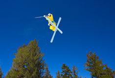 Radical Skier Gets Big Air. Off Jump Stock Images