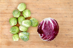 Radicchio with brussels sprouts Royalty Free Stock Photography