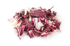 Radicchio cut and shredded. A large serving of cut and shredded radicchio on a white background Stock Photography