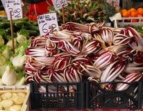 Radicchio. Fresh pile of organic radicchio on vegetable market Royalty Free Stock Image