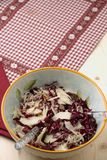 Radicchio salad, walnuts, pears and flaked Parmesan Royalty Free Stock Photos