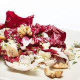 Radicchio salad with walnut and blue cheese. Self made, receipt, healthy Stock Image