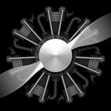 Radiell flygplanmotor med propellern Fotografering för Bildbyråer
