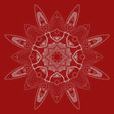 Radiell röd och vit prydnad Vektor Illustrationer