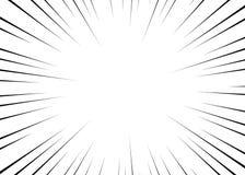 Radiella linjer för vektorsvart för komiker, superherohandling Manga ramhastighet, rörelse, explosionbakgrund Isolerad bakgrund royaltyfri illustrationer
