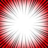 Radiella linjer på en röd bakgrund och en vit bakgrund Humorbokhastighet, explosion Vektorillustration för grafisk design stock illustrationer