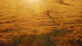 Radiellt flyg för låg höjd över sportyogaman på perfekt grönt gräs Solnedgång i berg stock video