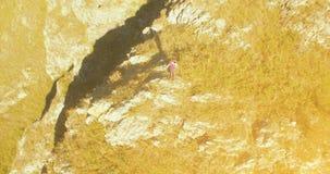 Radiellt flyg för Orbital runt om den unga fotvandra mannen som överst står av klippan Ser bort lager videofilmer