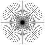 Radiellt och att utstråla raka tunna linjer Svartvitt cirkulär Royaltyfria Bilder