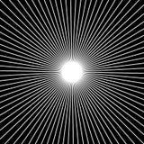 Radiellt och att utstråla raka tunna linjer Svartvitt cirkulär Arkivfoton