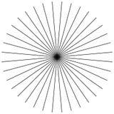 Radiellt och att utstråla raka tunna linjer Svartvitt cirkulär vektor illustrationer