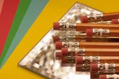 Radiergummi überstieg Bleistifte Stockfoto