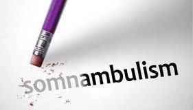 Radiergummi, der den Wort Somnambulism löscht stockbild