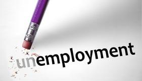 Radiergummi, der die Wort Arbeitslosigkeit für Arbeitslose ändert stockfotografie