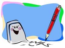 Radiergummi und Bleistift Stockbild
