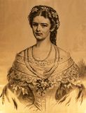 Radierung des Porträts von Sissi am Achillieon-Palast auf der Insel von Korfu Griechenland errichtet von der Kaiserin Elizabeth v Lizenzfreies Stockbild