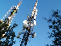 Radio Antenna. Mobile phones and television antennas Stock Photography