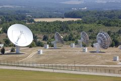 Radio antenna dishes in southern France Royalty Free Stock Photos