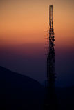 Radio antenna on mountain top Stock Photos