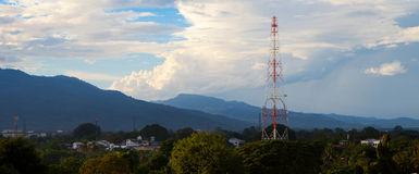 Radio antenna and natural landscape in panorama view Royalty Free Stock Photo