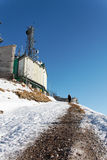 Radio antenna station on italian mountains Royalty Free Stock Photography