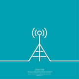 Radio antenna. Transmits a signal. On air. Tower mobile communications, transmission and reception. Outline. minimal Stock Photos