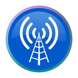 Radio antenna web button Royalty Free Stock Image