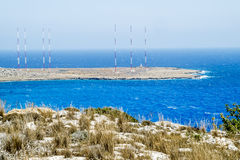 Radio antennas at Cape Greco . Cyprus. Royalty Free Stock Photos