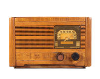 Radio antica isolata su bianco Fotografia Stock