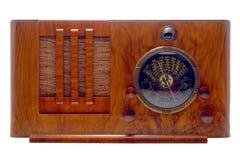 Radio antique de tube d'art déco d'isolement sur le blanc Images libres de droits