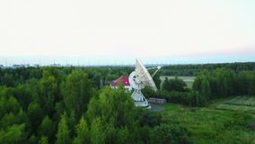 Radio astronomy observatory in Pushchino aerial photography. Drone copter flight stock footage