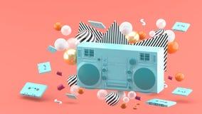 Radio azul en medio de bolas coloridas en un fondo rosado libre illustration