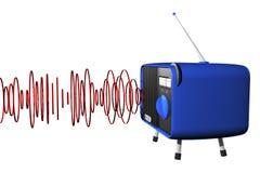 Radio bleue avec des ondes Photographie stock libre de droits
