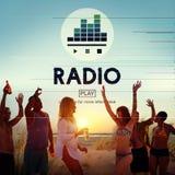 Radio Boardcasting auf Luft-Werbekonzeption stockfotos