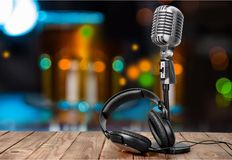 Radio. Broadcasting broadcast news retro sound studio royalty free stock images