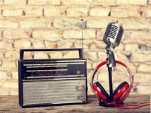 Radio. Broadcasting recorder frequency broadcast mint green journalist Royalty Free Stock Image