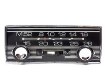 Radio car. Old auto radio isolated on white. Front view Stock Photo