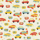 Radio, car and plane with seamless pattern. Royalty Free Stock Image