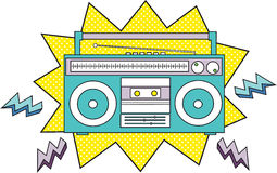 Radio Cassette. Comic inspired illustration of a radio cassette player Stock Illustration