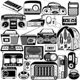 Radio and cassette black icons Royalty Free Stock Photography