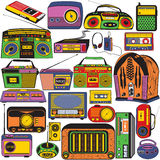 Radio and cassette colored icons. Great vector collection of different radio and cassettes colored in pop art style Royalty Free Stock Images