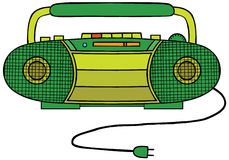 Radio Cassette Player. Illustration of a green Radio Cassette Player (mini compo). Available in well layered eps 8 file Stock Photography
