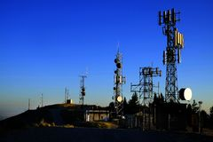 Free Radio Cell Cellular Broadcast Communication Towers Royalty Free Stock Images - 158172549